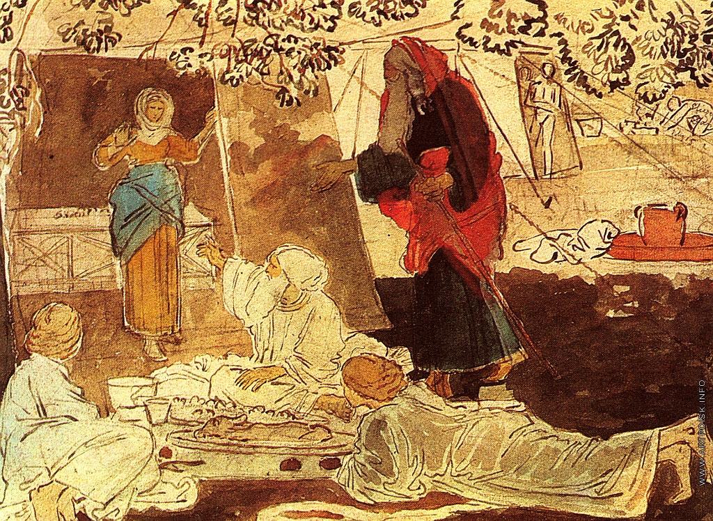 Картинки по запросу А.А.Иванов.Три странника, возвещающих Аврааму