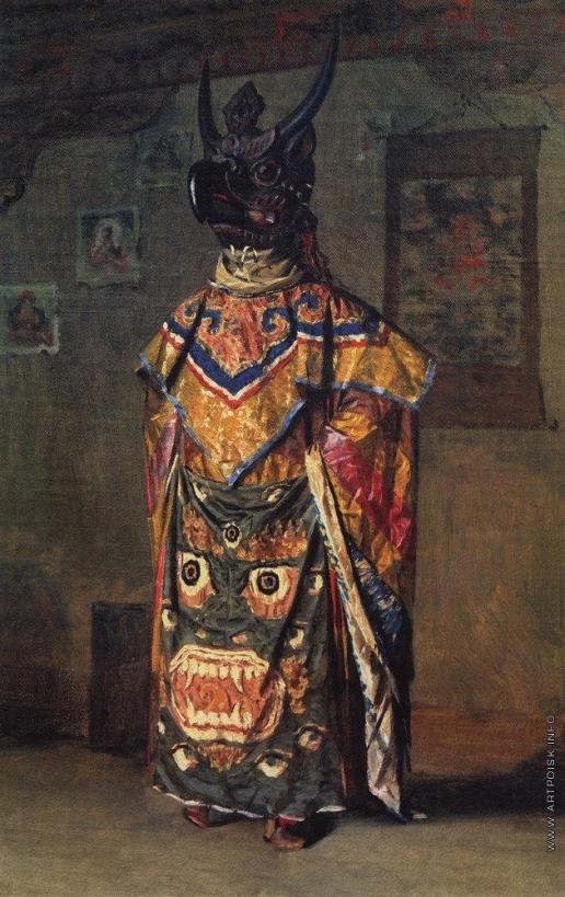 Верещагин В. В. Буддиский лама на празднике в монастыре Пемиончи. Сикким