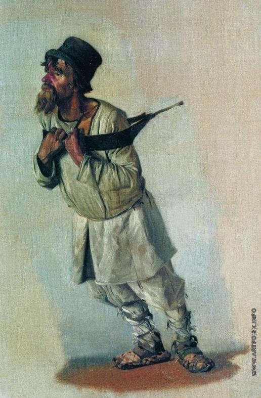 Верещагин В. В. Бурлак, держащийся руками за лямку