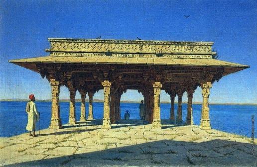 Верещагин В. В. Вечер на озере. Один из павильонов на Мраморной набережной в Раджнагаре (княжество Удайпур)