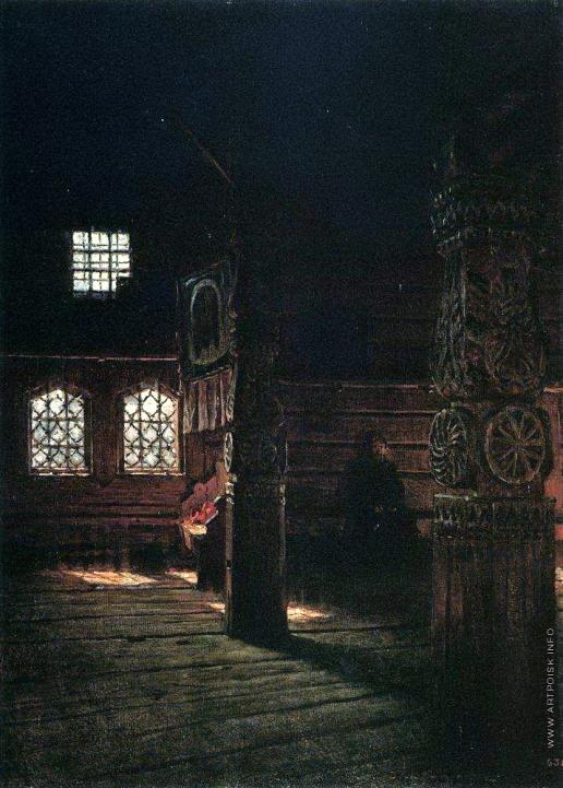 Верещагин В. В. Внутренний вид деревянной церкви Петра и Павла в Пучуге
