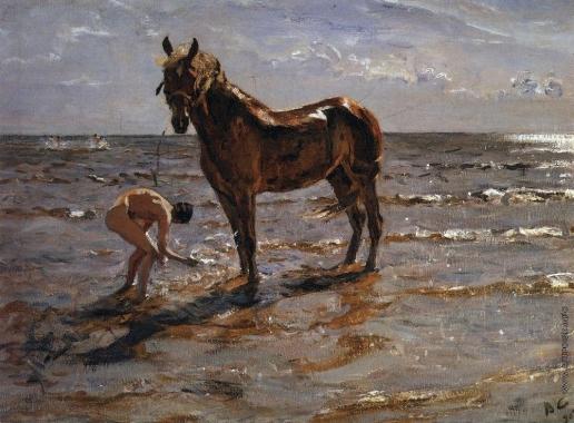Серов В. А. Купание лошади