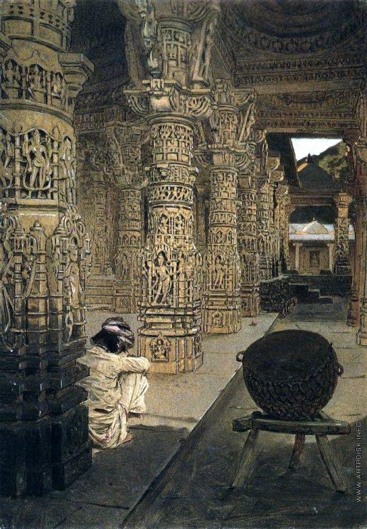 Верещагин В. В. Колоннада в Джайнском храме на горе Абу вечером