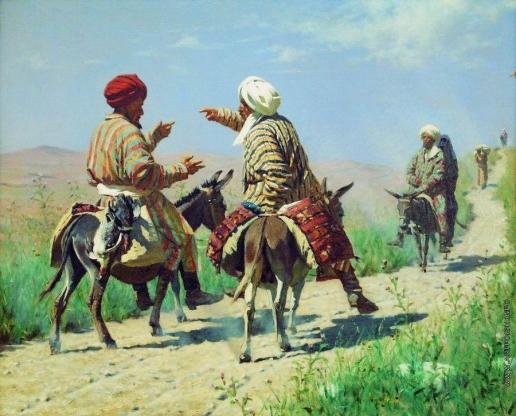Верещагин В. В. Мулла Рахим и мулла Керим по дороге на базар ссорятся