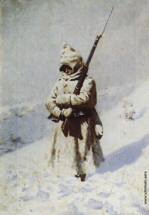Верещагин В. В. Солдат на снегу