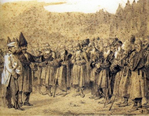 Верещагин В. В. Представление начальству (Русский офицер и кавказцы)