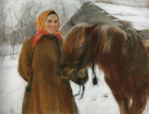 Серов В. А. Баба с лошадью