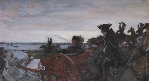 Серов В. А. Выезд Екатерины II на соколиную охоту