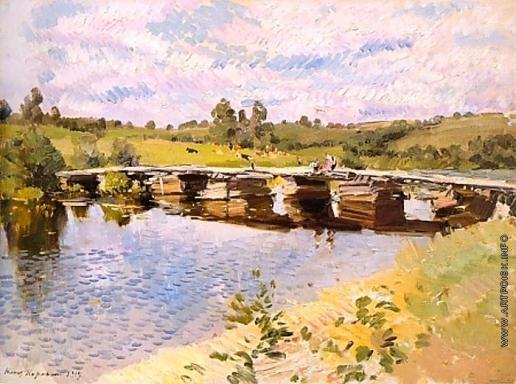 Коровин К. А. Сельский пейзаж с мостом