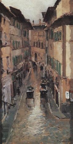 Коровин К. А. Улица во Флоренции в дождь