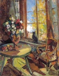 Коровин К. А. Черный кот на подоконнике