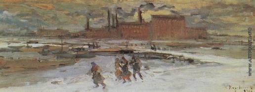 Коровин К. А. Пейзаж с фабричными строениями. Москва