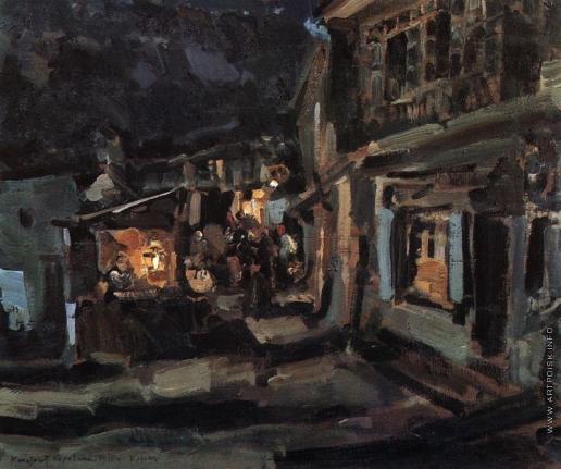 Коровин К. А. Татарская улица в Ялте. Ночь