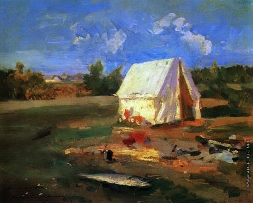 Коровин К. А. Утро. Охотничья палатка