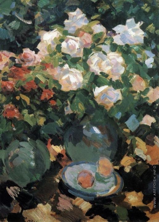 Коровин К. А. Розы в голубых кувшинах