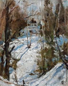 Серов В. А. Зима в Абрамцево. Церковь