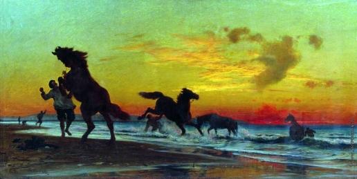 Орловский В. Д. Купание коней