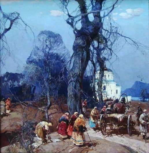 Колесников С. Ф. Пейзаж с крестьянами