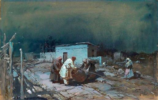 Колесников С. Ф. Лунной ночью в деревне