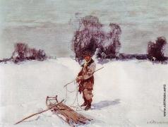 Колесников С. Ф. Молодой человек с санями