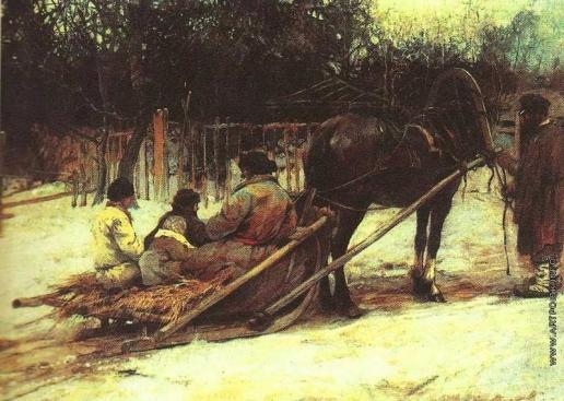 Колесников С. Ф. Пейзаж с дровнями