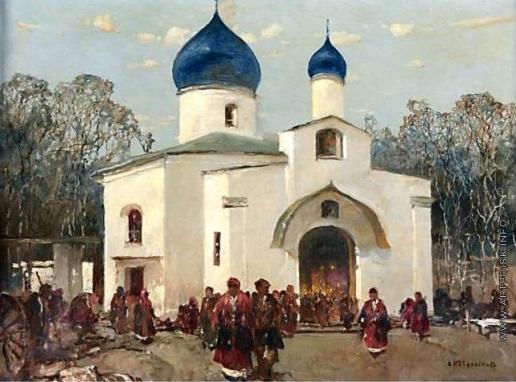 Колесников С. Ф. Перед церковью
