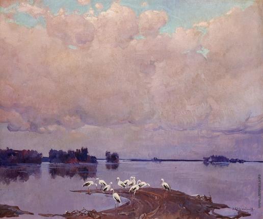 Колесников С. Ф. Аисты на берегу озера