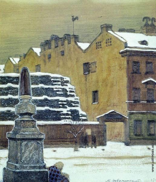 Добужинский М. В. В ротах (Зима в городе)