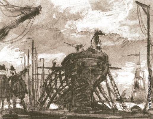 Добужинский М. В. Петр Великий в Голландии. Эскиз-вариант картины для Городского училищного дома им. Петра I