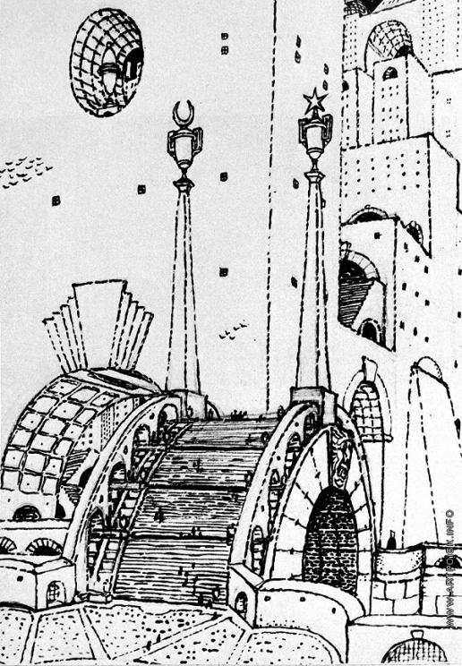 Добужинский М. В. Мост в фантастическом стиле. Набросок пейзажа из серии «Городские сны»