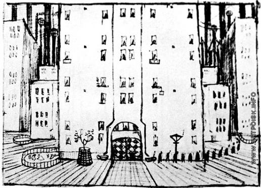 Добужинский М. В. Двор. Рисунок из серии «Городские сны»