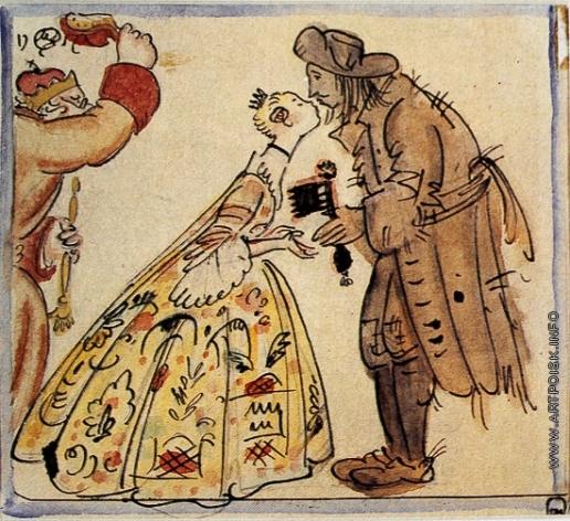 Добужинский М. В. Принцесса и свинопас Эскиз-вариант титульного листа к сказке Андерсена «Свинопас»