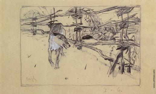 Серов В. А. Волк и пастухи. Иллюстрация к басне Крылова