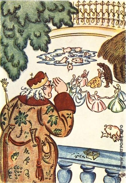 Добужинский М. В. Эскиз-вариант иллюстрации к сказке Андерсена «Свинопас»