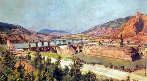 Машков И. И. ЗАГЭС. Плотина на реке Куре и шоссе Военно-Грузинской дороги