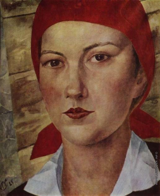 Петров-Водкин К. С. Девушка в красном платке (Работница)
