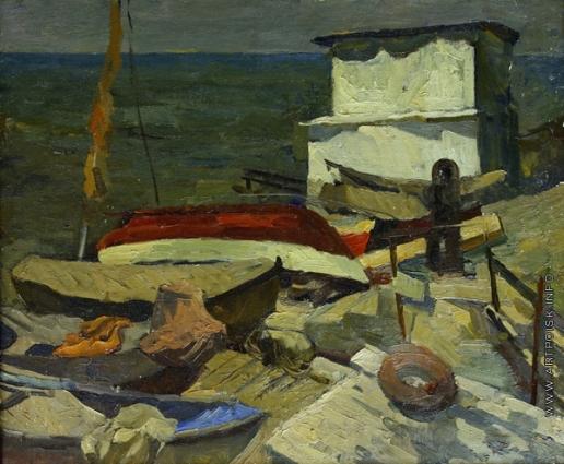 Трунков М. А. Лодки на причале