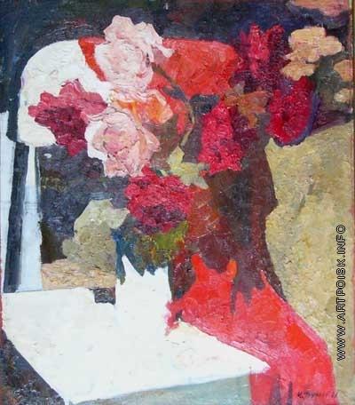 Трунков М. А. Розы на белом стуле