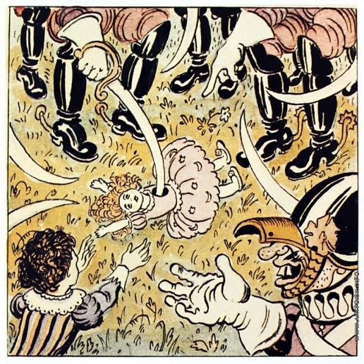 Добужинский М. В. Гибель куклы. Иллюстрация к сказке «Три толстяка» Юрия Олеши