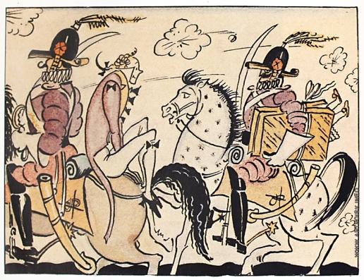 Добужинский М. В. Раздватрис на коне. Иллюстрация к сказке «Три толстяка» Юрия Олеши