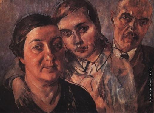 Петров-Водкин К. С. Автопортрет с женой и дочерью