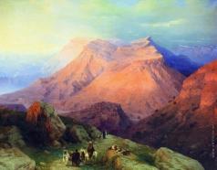 Айвазовский И. К. Аул Гуниб в Дагестане. Вид с восточной стороны