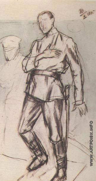 Петров-Водкин К. С. Раненый офицер. Рисунок к картине На линии огня