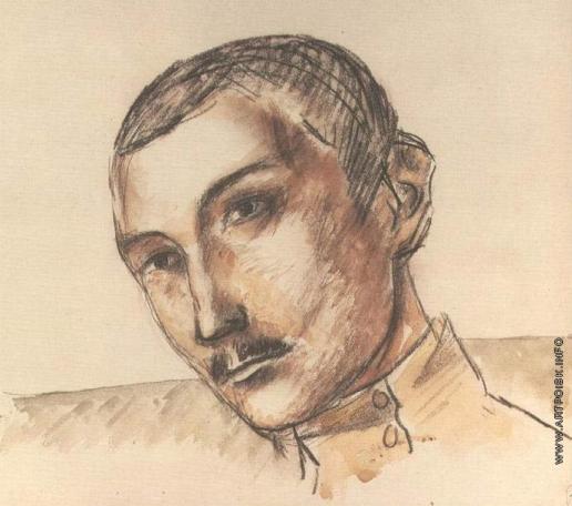 Петров-Водкин К. С. Голова офицера. Рисунок к картине На линии огня