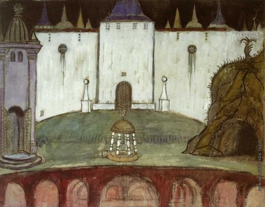 Добужинский М. В. Эскиз декорации к мистерии А. М. Ремизова «Бесовское действо над некиим мужем, а также прение живота со смертью»