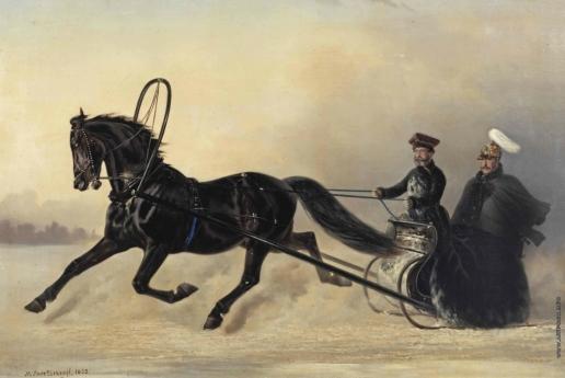 Сверчков Н. Е. Император Николай I на зимней прогулке