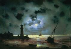Айвазовский И. К. Берег моря ночью. У маяка