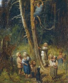 Васнецов В. М. Ребенок на дереве в лесу