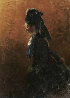 Репин И. Е. Девушка. Этюд для картины «Парижское кафе»