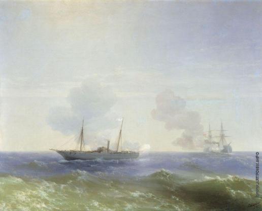 Айвазовский И. К. Бой парохода «Веста» с турецким броненосцем «Фехти-Буленд» в Чёрном море 11 июля 1877 года